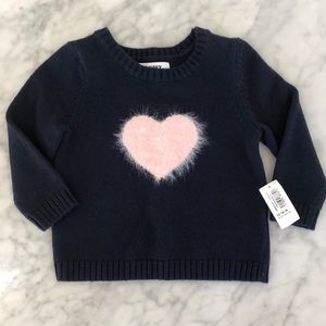 Old Navy heart sweater navy pink heart 12-18 M